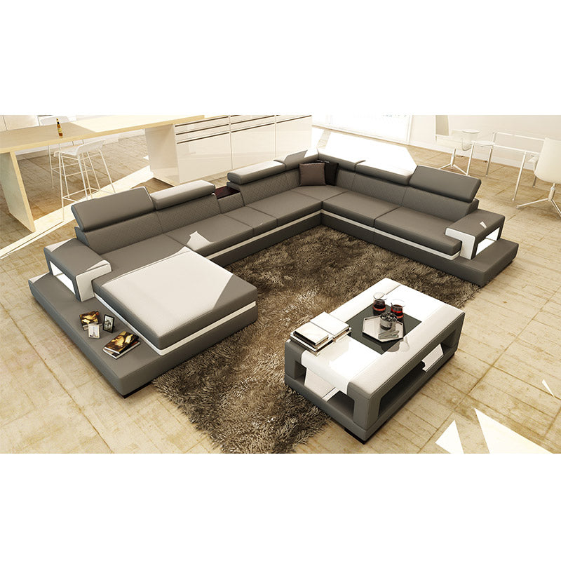 KOK USA 125081 Bonded Leather Sofa Sectional + Table
