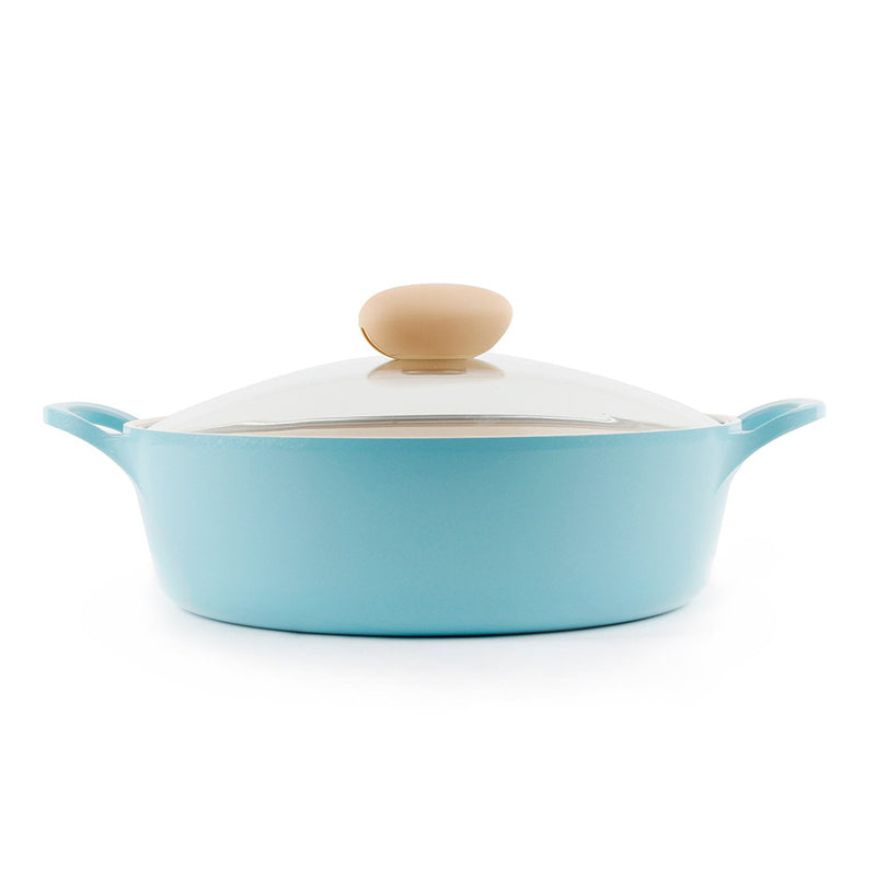 Neoflam Retro Ceramic Nonstick Stockpot with Glass Lid - 2QT Low - Isingtec