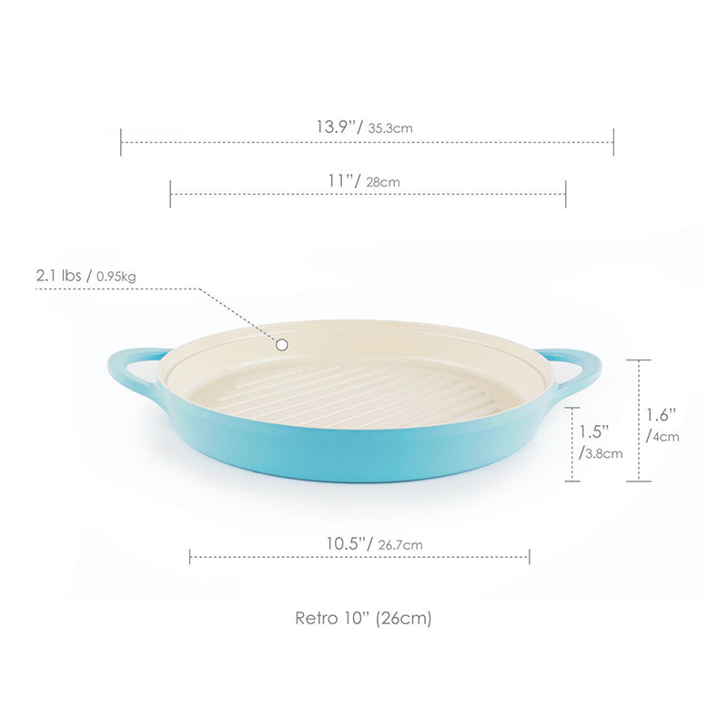 "Neoflam Retro 10"" Round Grill Pan in Mint"