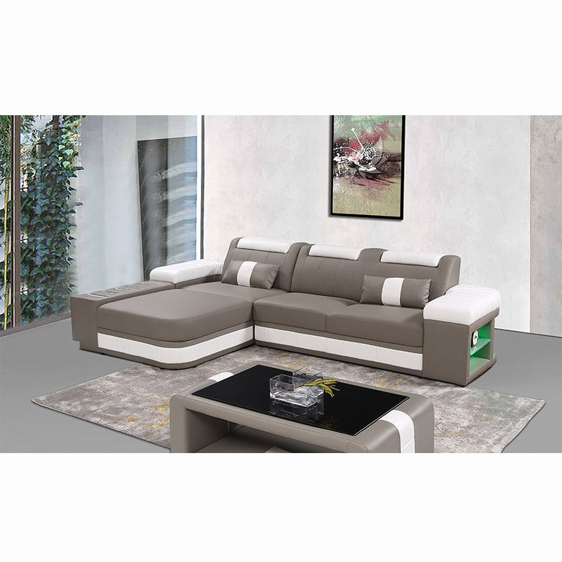 KOK USA 126825 Bonded Leather Sofa Sectional + Table