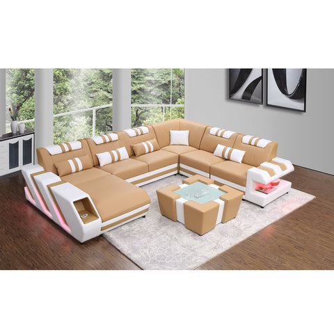 KOK USA 124087 Bonded Leather Sectional Sofa