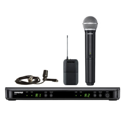 Shure BLX1288 Combo System with CVL Lavalier Karaoke Microphone and PG58 Handheld Microphone  Band H9 - Isingtec