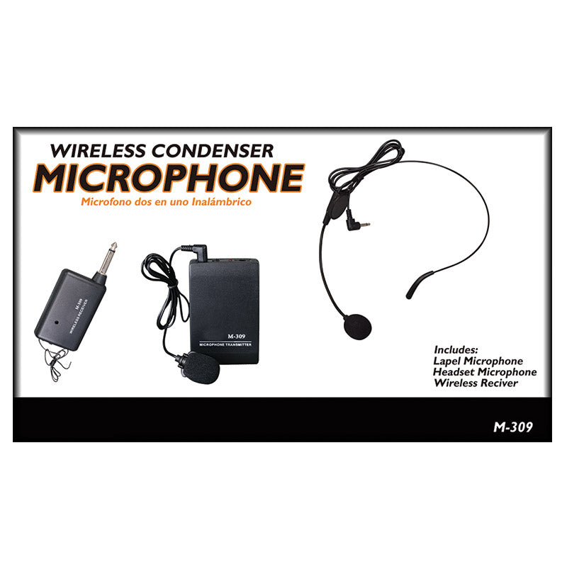 Queenfx M-309 Headset, Rechargeable, Wireless Dynamic Microphone (Sold In-Store only) - Isingtec