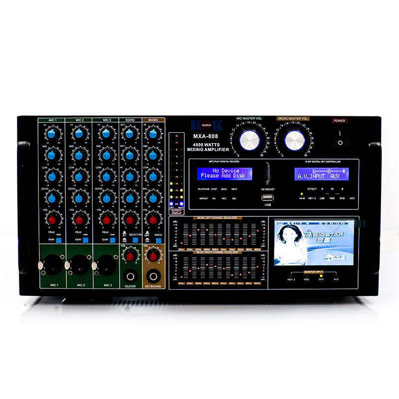 KOKaudio MXA-808 4000 Watt Mixing Amplifier, HDMI In/Output, Bluetooth, USB, SD Card Model 2019 - Isingtec