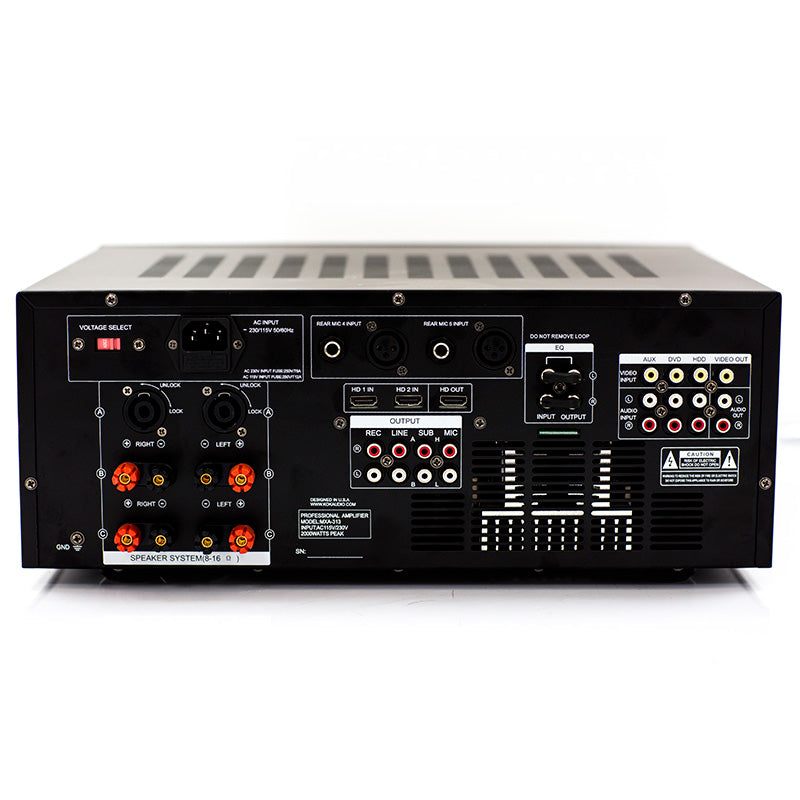 KOK Audio MXA-313D 2000 Watt Mixing Amplifier, HDMI In/Output, Bluetooth, USB, SD Card Model 2019 - Isingtec