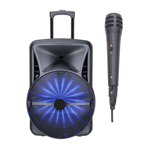 "Queenfx 412202 12"" LCD Screen, Bluetooth, Rechargeable, 1 Wireless Mic, 2x12"" Woofer Speaker (Sold In-Store Only)"