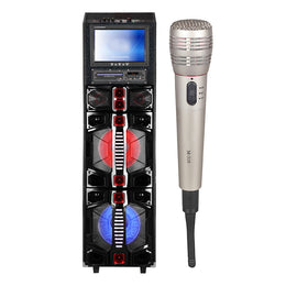 "Queenfx 412202 12"" LCD Screen, Bluetooth, Rechargeable, 1 Wireless Mic, 2x12"" Woofer Speaker (Sold In-Store Only) - Isingtec"