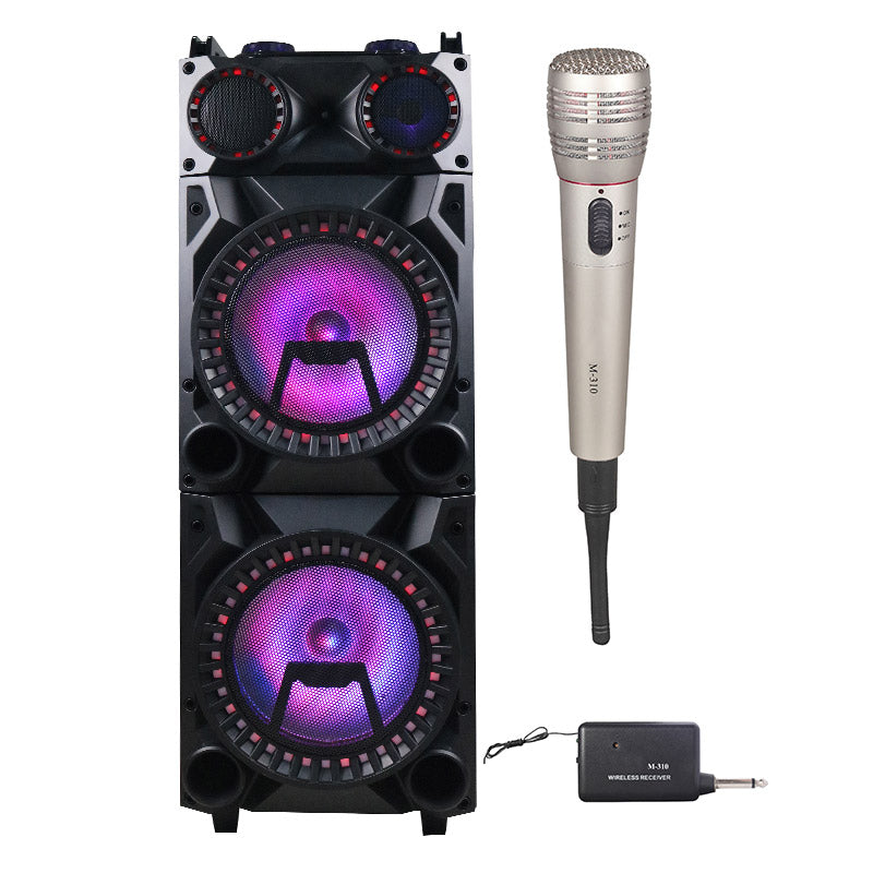 "Queenfx 74207 Bluetooth, Wireless Mic, Rechargeable Speaker 2x12"" woofer (Sold In-Store Only) - Isingtec"