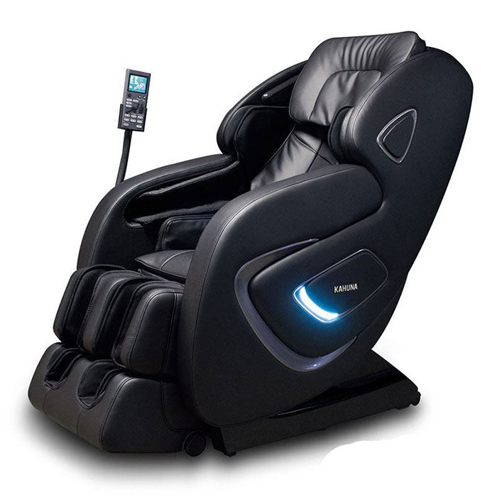 black leather massage chair with LED light on side