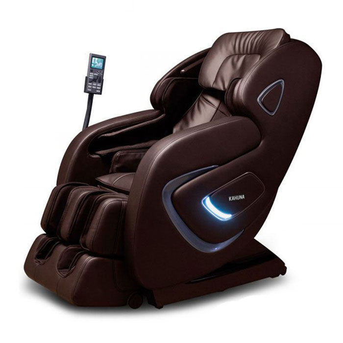 brown leather massage chair with LED light on side