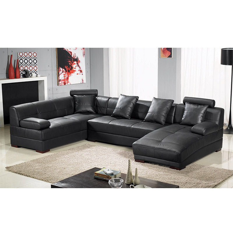 KOK USA 123334 Leather Sectional Sofa + Table +Ottoman