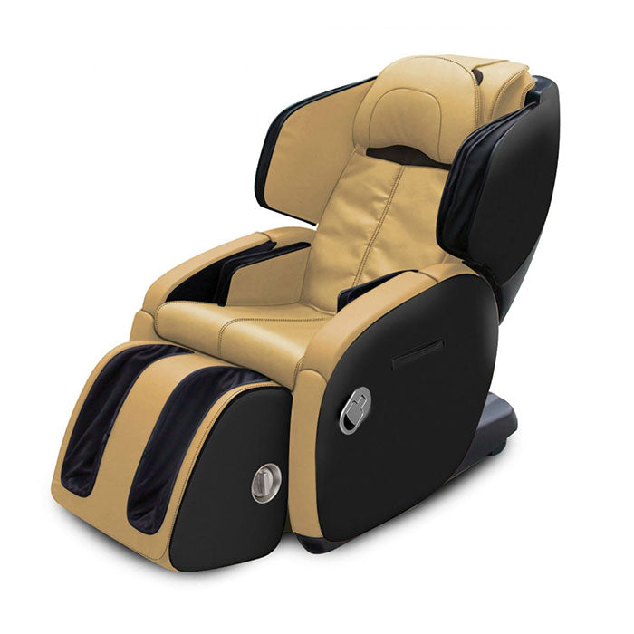 butter leather with black frame massage chair