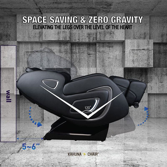 black leather massage chair in zero gravity position