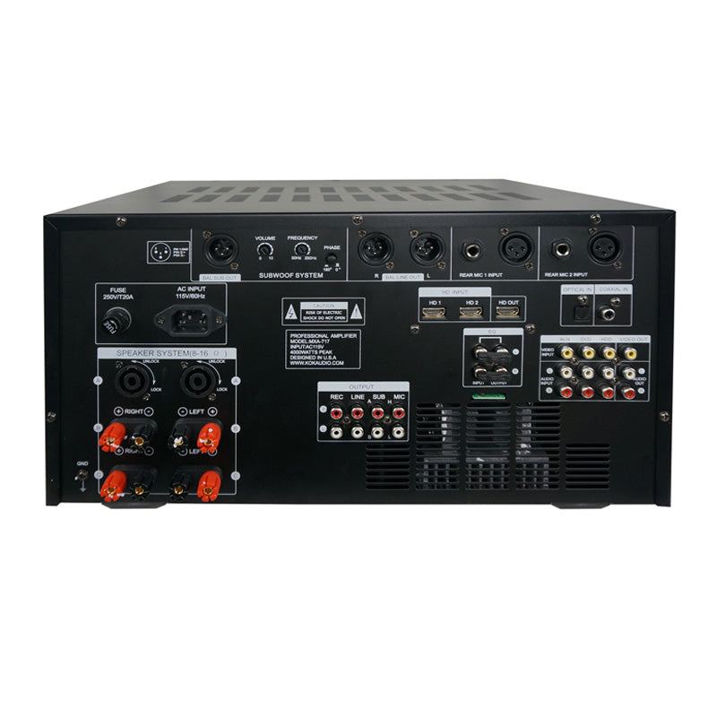 KOK Audio MXA-717 4000 Watt Mixing Amplifier, HDMI In/Output, Bluetooth, USB, SD Card Model 2019 - Isingtec
