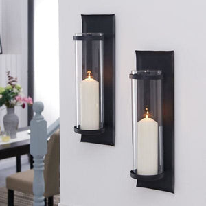 Danya B. Metal Pillar Candle Sconces with Glass Inserts (Set of 2) - 50% OFF