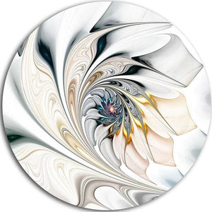Designart White Stained Glass Floral Art Floral Circle Metal Wall Art - 50% OFF