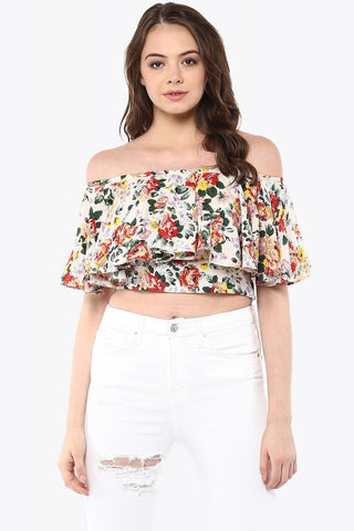 Counting Petals Floral Bardot Off Shoulder Crop Top