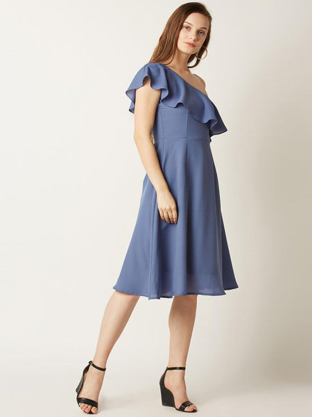 In An Instant Ruffled One Shoulder Dress