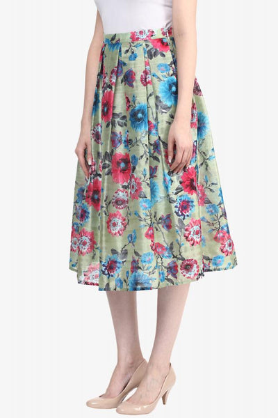 Dancing In The Rain Floral Midi Skater Skirt