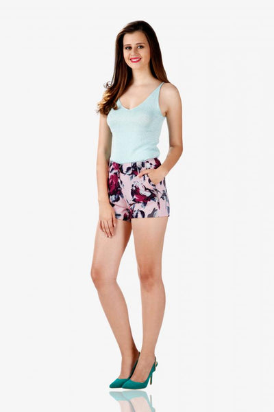 Flower bouquet printed shorts