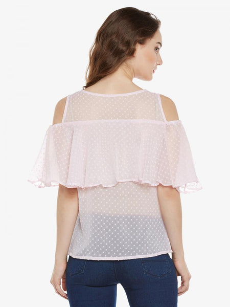 Enjoy Blush Ruffled Cold Shoulder Top