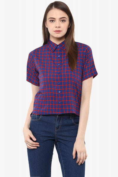 Chasing Summer Checkered Crop Shirt