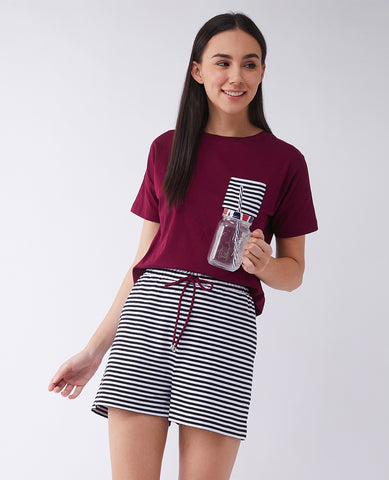 The Love For Money Striped Top and Shorts Set