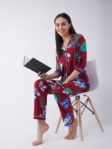 Morning Dove Tropical Printed Pajama Set