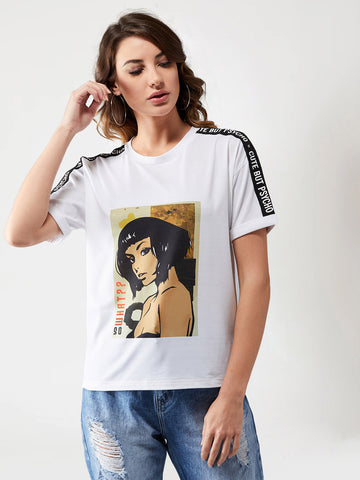Girl Boss Round Neck Twill T-Shirt