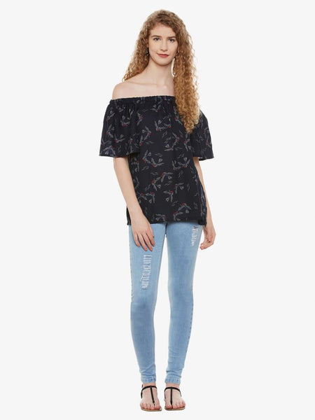 Birds Interest Off Shoulder Top