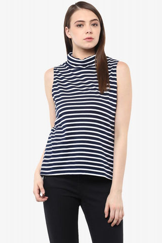 Be In Line Striped Turtle Neck Top