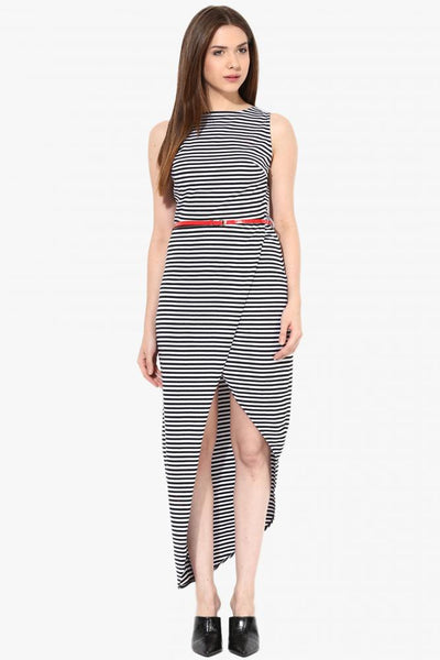 Stripe Me Wrap Maxi Dress