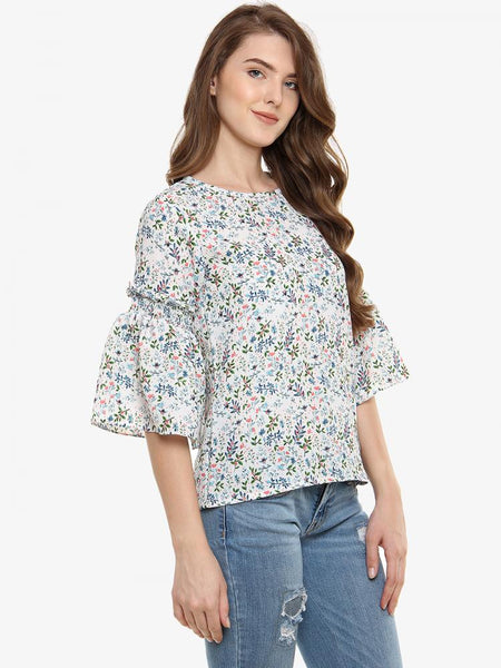Floral Interest Printed Ruffle Top