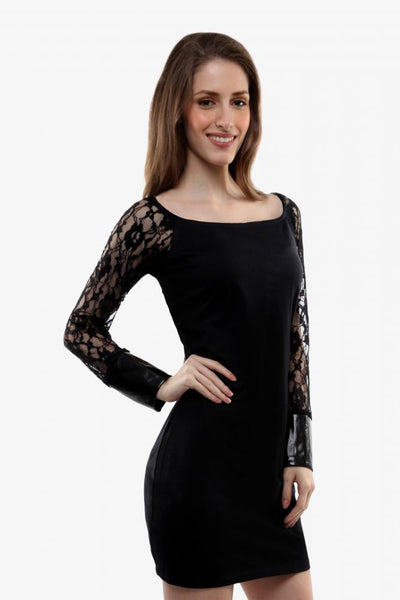 Lace alert bodycon dress