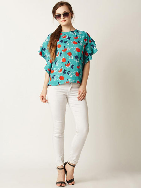 Off The Record Ruffled Printed Top