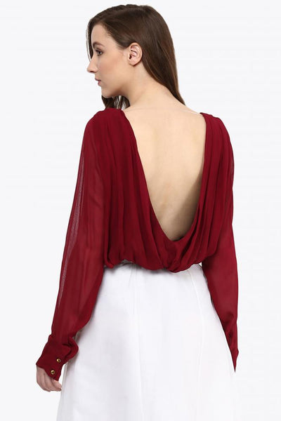 Long Sleeve Slinky Plunge Back Top