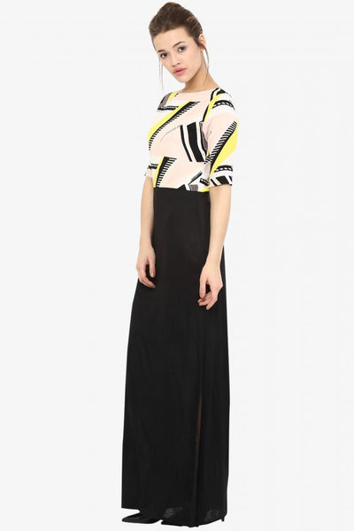 Flawless Heart Abstract Print Maxi Dress