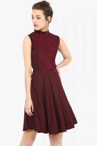 Hollywood And Wine Lace Skater Dress