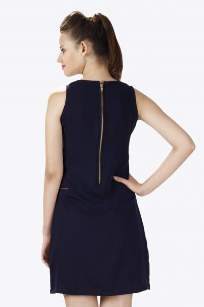 Zip Up Sleeveless Shift Dress