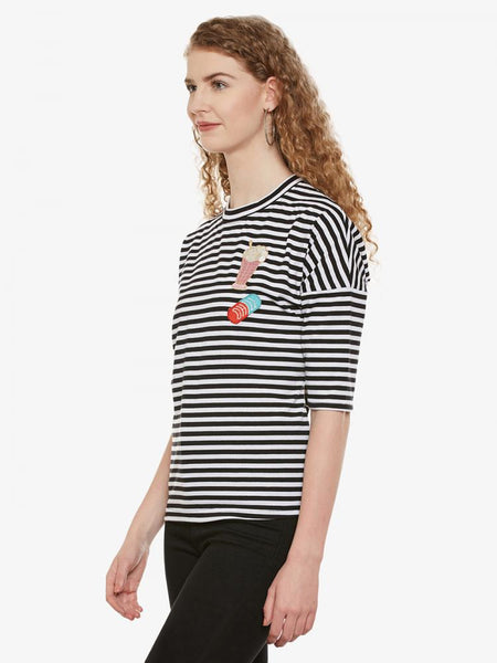 Horizon Striped Embroidered Patch Tee