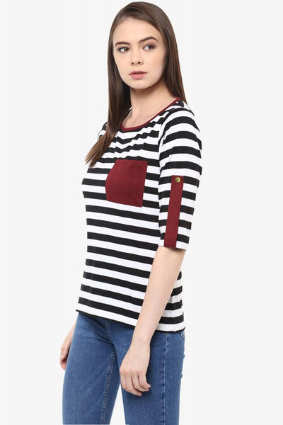 Stripe Out Patch Pocket Striped Top