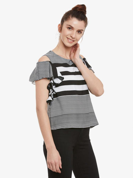 Even Better Striped Shoulder Cut Out Top