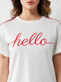 Hello Girl's Round Neck Twill T-Shirt