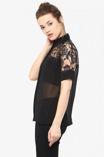 In The Wings Lace Sheer Shirt