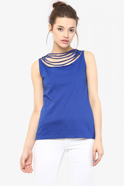 Stop And Stare Jeweled Neckline Top