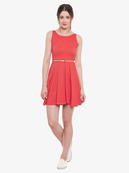 Belted Whole Wide Whirl Skater Dress