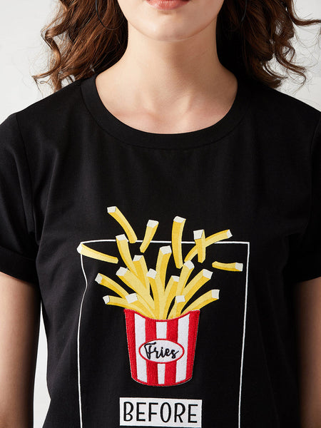 Fries Before Guys Round Neck T-Shirt