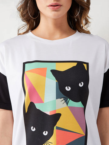 Funny Cats colour-block T-Shirt