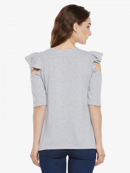 Ruffle Me Up Striped Cold Shoulder Top