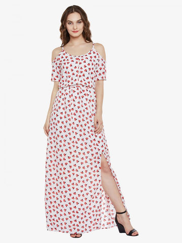 Burning Down The House Cold Shoulder Maxi Dress